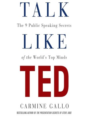 Talk Like TED by Carmine Gallo. AVAILABLE Audiobook.
