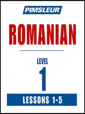 Pimsleur Romanian Level 1 Lessons 1-5 MP3 by Pimsleur.                                              AVAILABLE Audiobook.